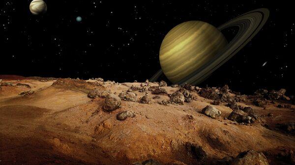 Вид Сатурна с поверхности его спутника