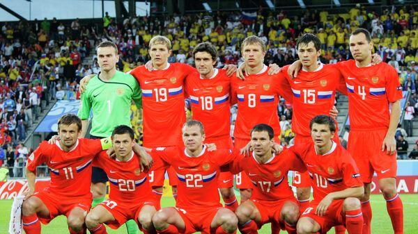Сборная России перед началом матча чемпионата Европы 2008 по футболу между сборными России и Швеции