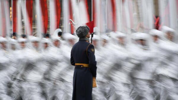 Генеральная репетиция марша, посвященного 78-й годовщине военного парада 1941 года на Красной площади. 5 ноября 2019
