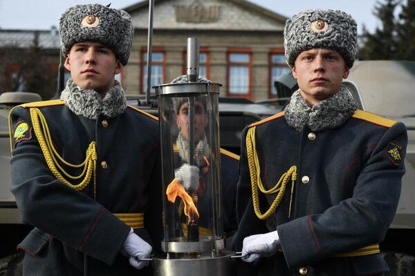 Памятный митинг в честь зажжения чаши Вечного огня в Новосибирске