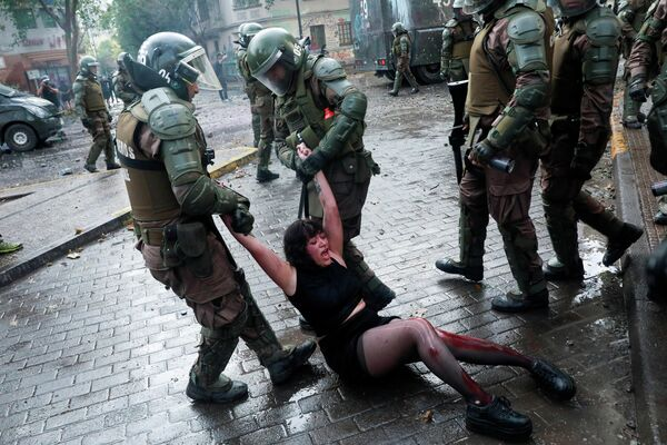 Акция протеста в Сантьяго, Чили
