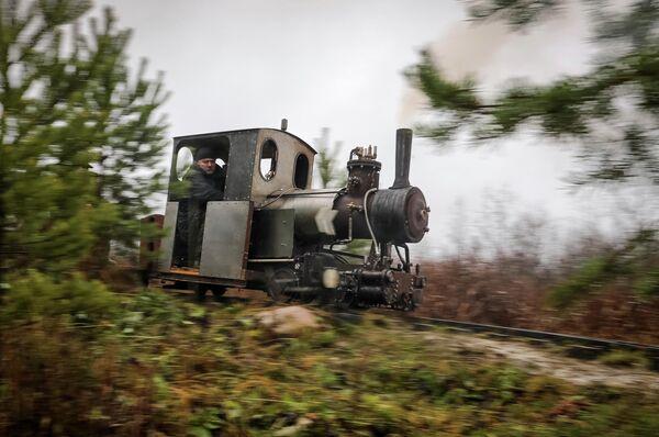 Самодельный паровоз, разработанный Павлом Чилиным, проезжает по железной дороге в поселке Ульяновка в Ленинградской области