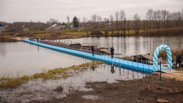 Понтонный пешеходный мост из пластика через реку Шешма открыли в селе Елантово Нижнекамского района Татарстана