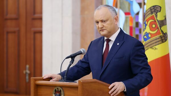 Президент Молдавии Игорь Додон во время брифинга в Кишиневе