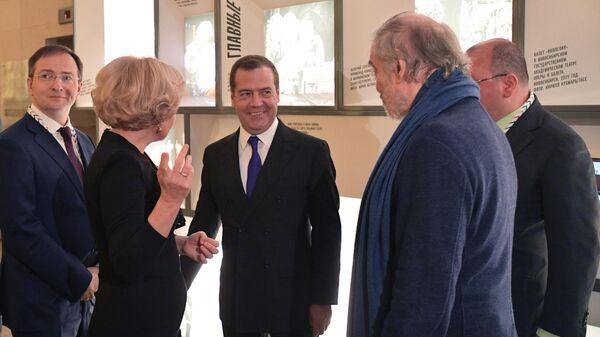 Председатель правительства РФ Дмитрий Медведев в здании новой сцены Мариинского театра Мариинский - 2 в Санкт-Петербурге