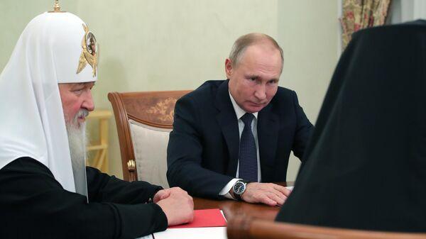 Президент РФ В. Путин встретился с патриархом Московским и всея Руси Кириллом и патриархом Иерусалимским Феофилом III