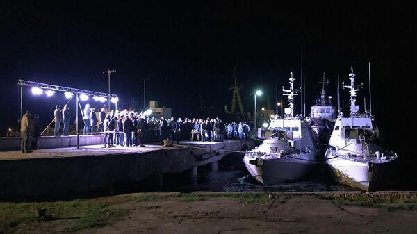 Украинские малые бронированные артиллерийские катера Бердянск и Никополь в порту Очакова