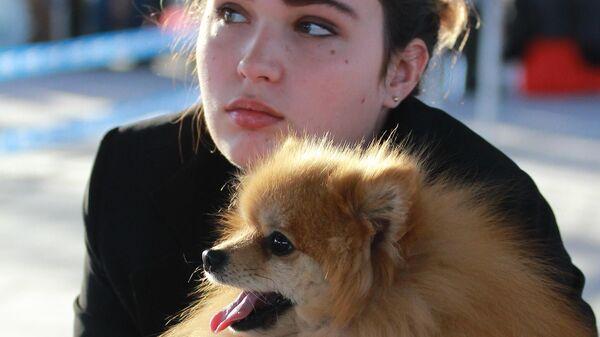 Девушка с собакой породы немецкий шпиц на международной выставке собак в Москве