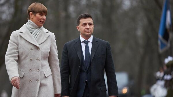 Президент Эстонии Керсти Кальюлайд и президент Украины Владимир Зеленский во время встречи