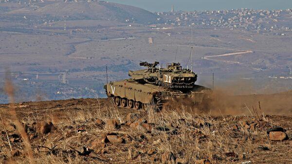 Израильский танк на Голанских высотах. Ноябрь 2019