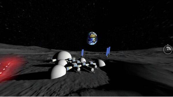 Фрагмент панорамы лунной промышленно-исследовательской базы