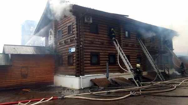 Последствия пожара в Гостинице Ромашково в городском округе Одинцово. 8 декабря 2019