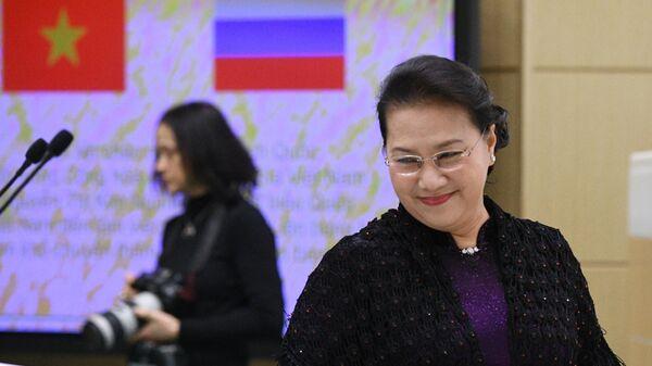 Председатель Национального собрания Социалистической Республики Вьетнам Нгуен Тхи Ким Нган на заседании Совета Федерации РФ. 11 декабря 2019