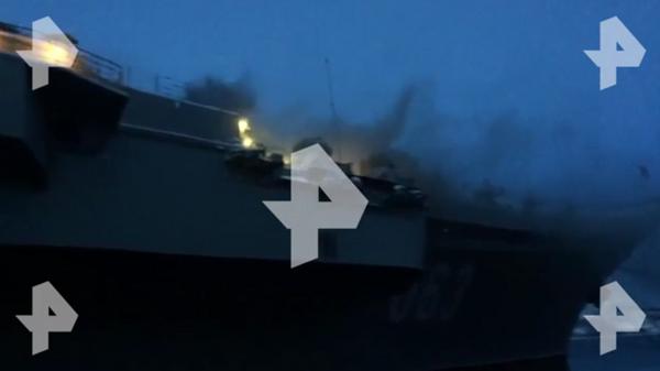 Опубликовано видео пожара на крейсере Адмирал Кузнецов