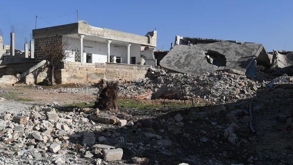 Освобожденный от боевиков город Джарджаназ в сирийской провинции Идлиб