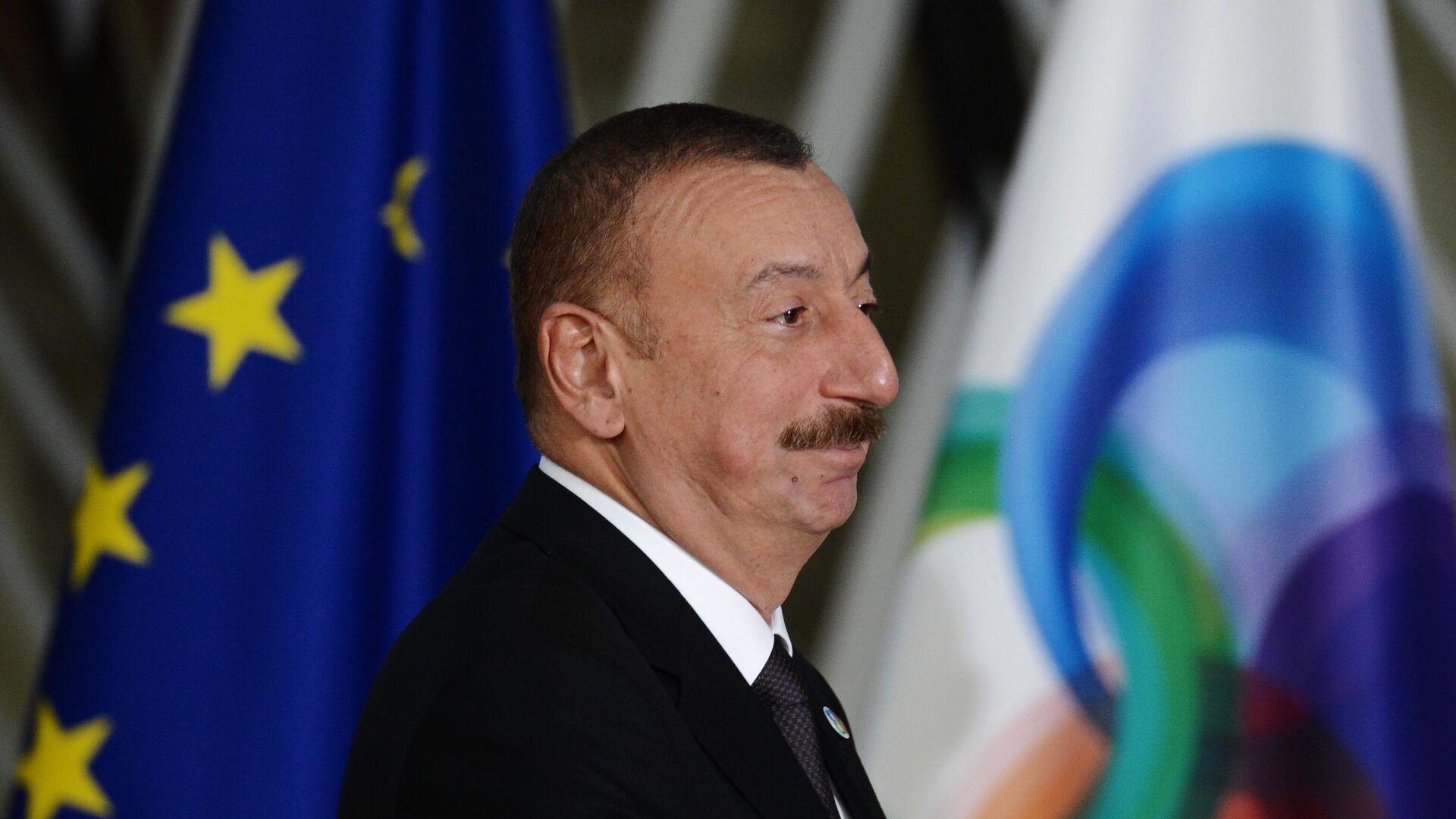 Президент Азербайджана Ильхам Алиев перед началом 5-го Саммита Восточного партнерства в Брюсселе - РИА Новости, 1920, 04.10.2020
