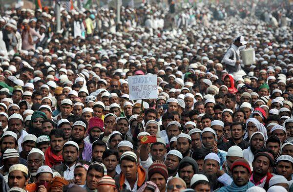 Участники акции протеста против нового закона о гражданстве в Индии