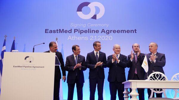 Участники подписания межгосударственного соглашения о строительстве газопровода EastMed в Афинах
