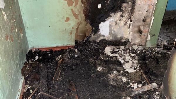 Последствия пожара в городе Узловая Тульской области на улице Суворова