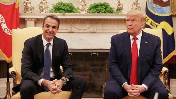 Премьер-министр Греции Кириакос Мицотакис во время встречи с президентом США Дональдом Трампом. 7 января 2019
