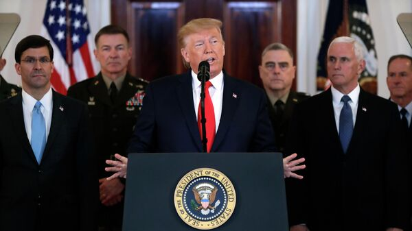 Президент США Дональд Трамп во время обращения к нации из Белого дома в Вашингтоне. 8 января 2020