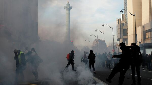 Протестующие во время демонстрации в Париже, Франция. 11 января 2020