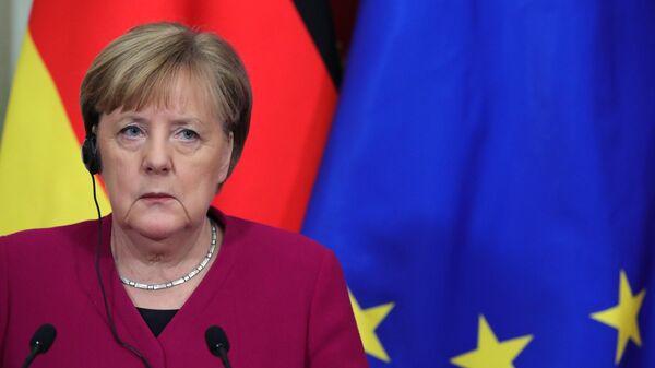 Федеральный канцлер Германии Ангела Меркель во время совместной с президентом РФ Владимиром Путиным пресс-конференции по итогам встреч
