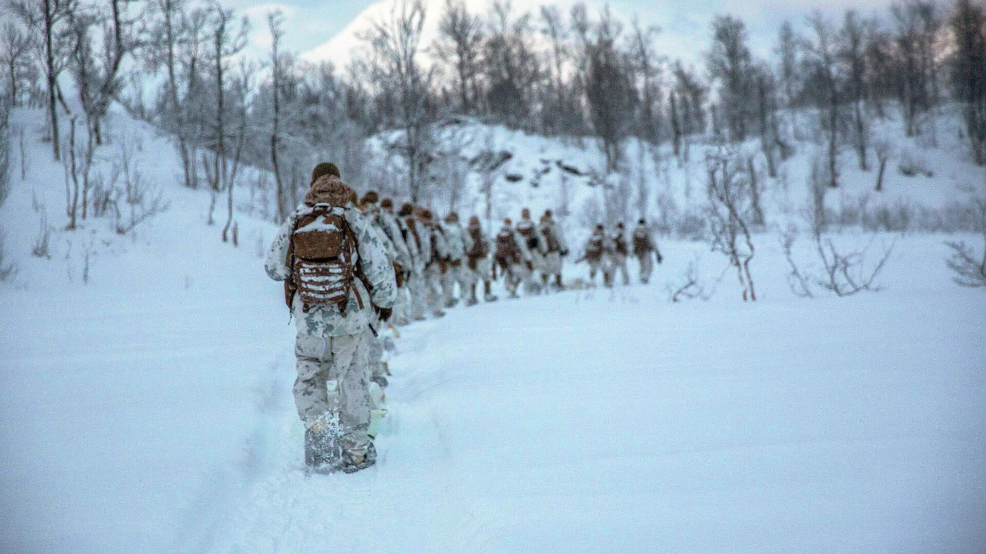 Американские морские пехотинцы во время учений в Норвегии - РИА Новости, 1920, 25.01.2021