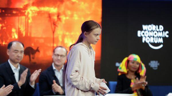 Шведская экоактивистка Грета Тунберг на Всемирном экономическом форуме в Давосе. 21 января 2020