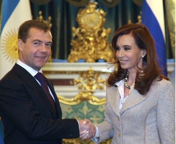 Президенты России и Аргентины во время встречи в Кремле