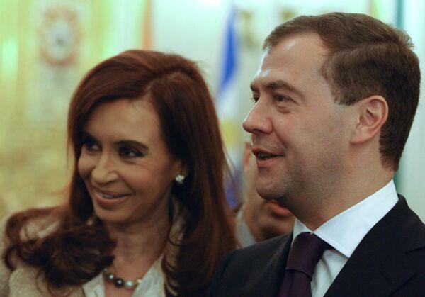 Дмитрий Медведев во время встречи с Кристиной Фернандес де Киршнер