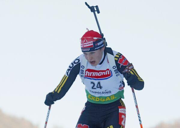 Немецкая биатлонистка Магдалена Нойнер во время спринтерской гонки пятого этапа Кубка мира по биатлону в немецком Рупольдинге