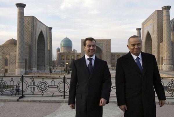 Президент России Дмитрий Медведев и президент Узбекистана Ислам Каримов