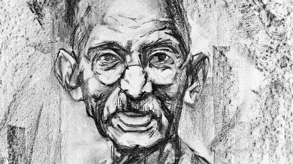 Репродукция наброска к портрету Махатмы Ганди