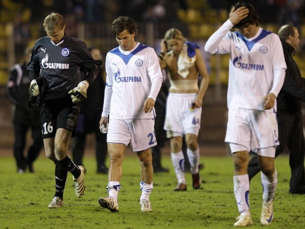 Футболисты Зенита после матча против Удинезе в Кубке УЕФА