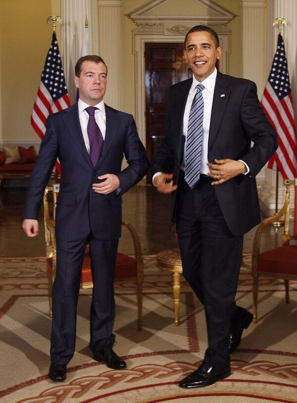 Дмитрий Медведев и Барак Обама на G20