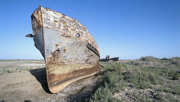 Остатки корабля на месте высохшего Аральского моря. Архивное фото