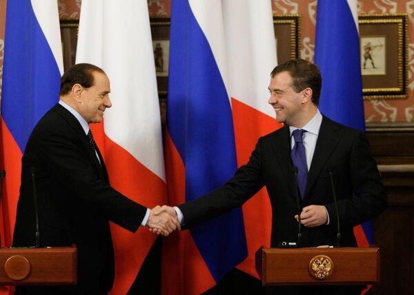 Пресс-конференция президента РФ Д. Медведева и премьер-министра Италии С. Берлускони