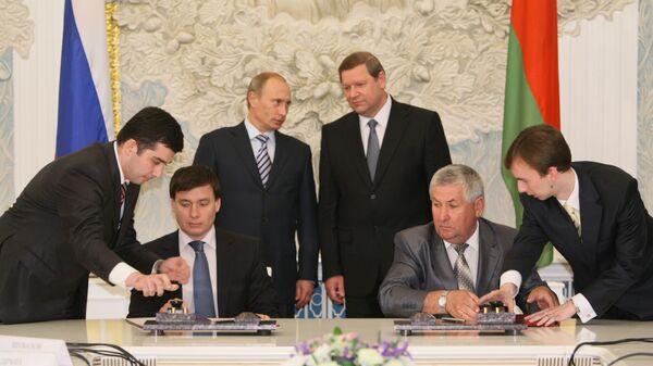 Подписание совместных документов по итогам заседания Совета министров СГРБ в Минске