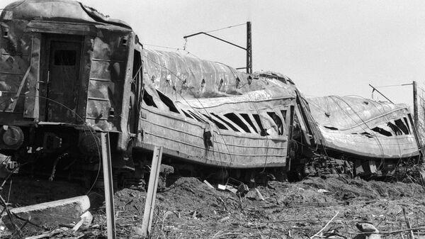 Вагоны, выгоревшие дотла по время катастрофы происшедшей на перегоне Уфа - Челябинск Куйбышевской железной дороги