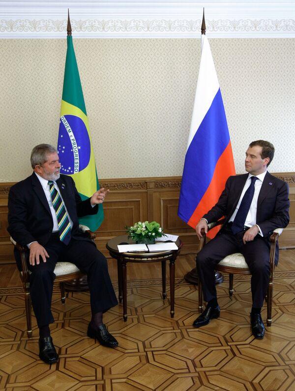 Беседа президента России Дмитрия Медведева с президентом Бразилии Луисом Лулой да Силва