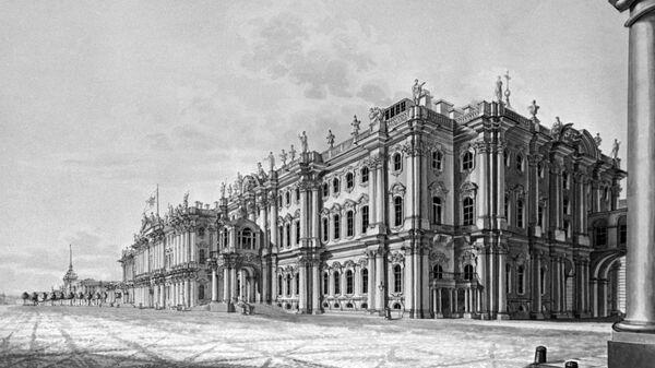 Гравюра Зимний дворец в Петербурге