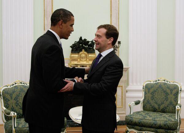 Встреча президента РФ Дмитрия Медведева с президентом США Бараком Обамой