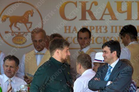 Президент Чечни Рамзан Кадыров и веменно исполняющий обязанности президента Ингушетии Рашид Гайсанов