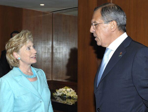 Глава МИД РФ С.Лавров и госсекретарь США Х.Клинтон. Архив