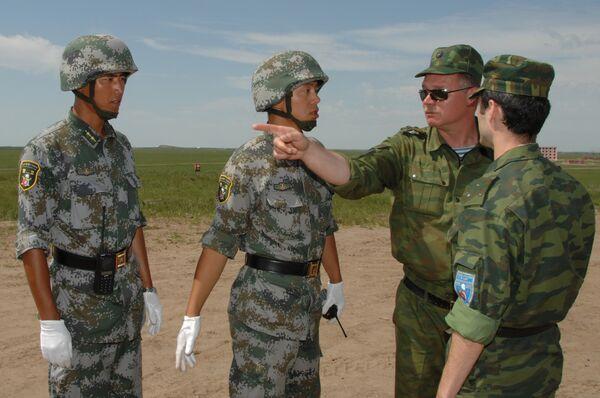Первая тренировка войск РФ и КНР в рамках учений Мирная миссия- 2009