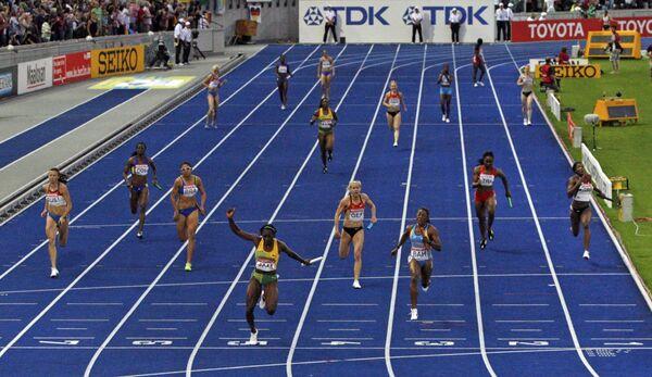 Финиш эстафеты 4 х 100 м на ЧМ по легкой атлетике