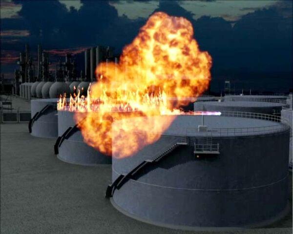 Молния стала причиной пожара на нефтестанции. Реконструкция событий