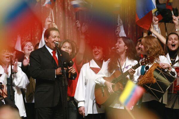 Президент Венесуэлы Уго Чавес во время выступления перед студентами