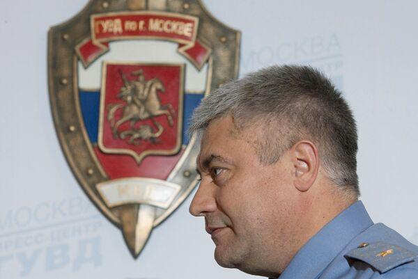 Начальник ГУВД по городу Москве генерал-майор милиции В.Колокольцев во время пресс-брифинга